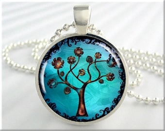 Tree Of Life Pendant, Resin Necklace, Turquoise Jewelry, Silver Art Charm, Gift Under 20, Silver Round 324RS