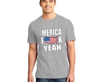 Men's T-Shirt Merica Fk Yeah Patriot Flag Funny Fast Ship 4th July Men's youth S-5XL