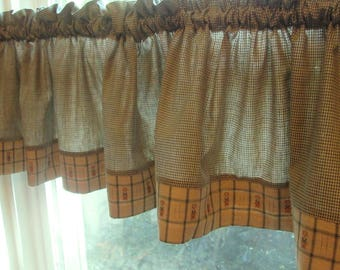 Vintage Window Valances - Green and Tan Cotton Gingham Valance - Country Curtains - Choice 1 or 2 or 3