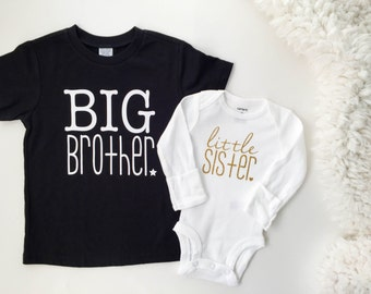 Big Brother and little sister matching shirt and bodysuit   big brother little sister   new baby gift   family photos   gender reveal  