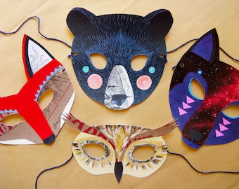 Paper Animal Mask Set, Woodland Forest Party and Wedding Favors