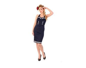 Navy blue and white nautical dress