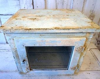 Antique sterilizer medicine cabinet with glass shelves painted distressed shabby cottage chic salvaged home decor storage anita spero design