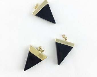 Black Triangle Quartz Pendent with 24k Gold Plated Rim, Geometric Stone Vermeil Finish Charm, Natural Gemstone Jewelry Finding // NC-097-G