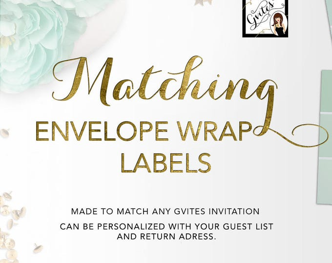 Matching Guest Address Labels - To coordinate with any Gvites design. PRINTABLE Guest & Return Avery® 80506, 8217, 22838. {5 Per/Sheet}
