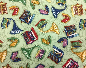 Vintage Record Player/Phonograph Fabric - 100% Quilting Cotton [[by the half yard]]