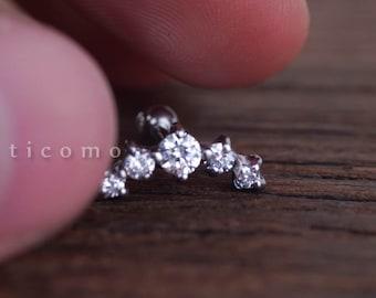 Cartilage earring 16g Helix earring Helix piercing Cartilage stud Cartilage piercing Silver Clear Zircon