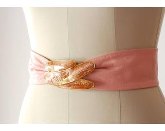 vintage pink leather belt