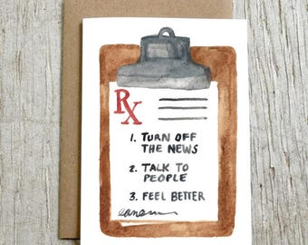 Talk To People Greeting Card, Peaceful Protest Watercolor Blank Card by Little Truths Studio