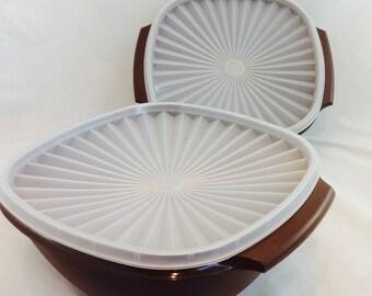 Vintage Tupperware Large Brown Servalier Bowls and Lids x 2, Tupperware Brown Storage Bowls