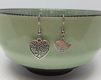 Mother's Day Gift, Gift For Mom | Silver Bird and Family, Bird and Bird House, Bird and Tree Unbalanced Earrings