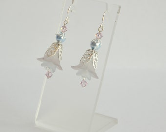 Blue lilac silver hand dyed lucite flower Swarovski and pearl earrings, vintage style earrings, lucite flower earrings