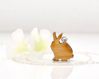Rabbit Jewelry Fun Bun- Bunny Necklace- Rabbit Necklace- Pet Bunny Rabbit- Bunny Jewelry- Nature Lover Gift- Bunny Lover Gift- Gift for Her