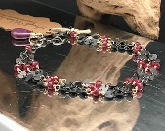 Ruby Bracelet, Oxidized Silver 3 strand bracelet, Gold filled, black chain bracelet, bracelets under 300