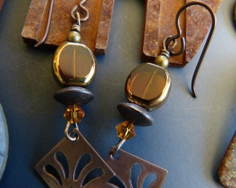 Amber Glass Bead Earrings with Antique Brass Charms