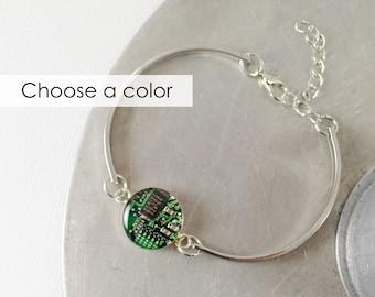 Circuit Board Link Bracelet, Silver Band, Cuff Bracelet, Electrical Engineer Gift,  Technology Gift, Circuit Board Jewelry, Wearable Tech