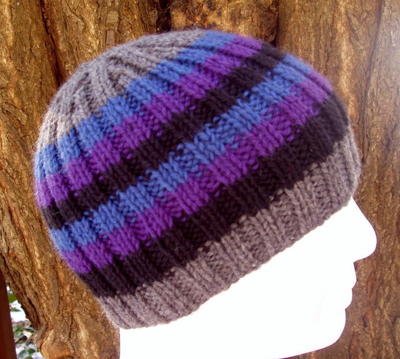 KNITTING PATTERN/FINN Mans Striped Rib Hat/Knit Round/Stripe