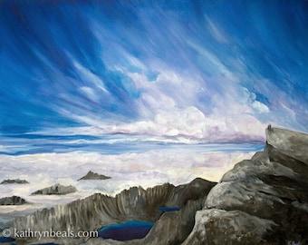 Sierra Mountain Blue Sky Painting - Landscape Canvas Print