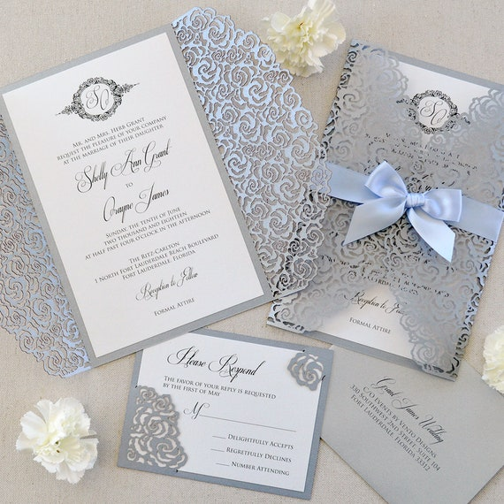 SILVER ROSES Laser Cut Wrap Invitation - Silver Laser Cut Wedding Invitation with White Shimmer Insert and Pale Blue Ribbon Bow