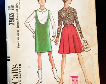 "Vintage McCall's 7903 Pattern 1960s Hullaballoo! Vintage Sewing Pattern Jumper Blouse Skirt UNCUT Notions Costumes Sewing Bust 30.5"" Mod Fab"