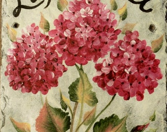 Hand painted personalized Slate Welcome Sign  HYDRANGEA SLATE welcome sign, your choice of color Pink hydrangeas, blue, burgundy