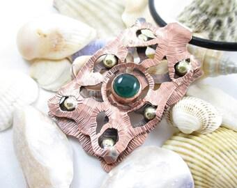 Copper-brass pendant (secret) Handmade