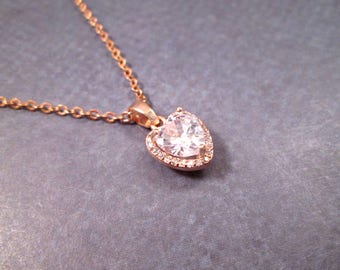 Cubic Zirconia Heart Necklace, Pave Pendant Necklace, Rose Gold Chain Necklace, FREE Shipping U.S.