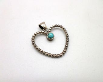 Sweet Sterling Silver and Turquoise Heart Pendant
