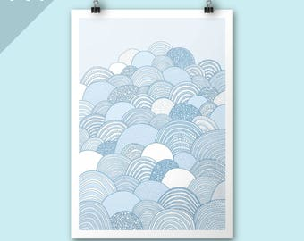 Clouds / A4 print / Blue art print / Art print / Illustration / Contemporary art / Nursery art / Christmas gift / children room decor