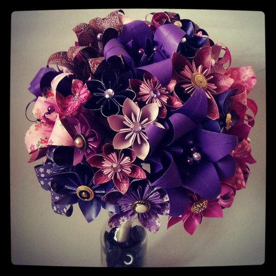 Origami Wedding Flowers: Origami Paper Flower Bouquet Wedding Alternative Bouquet Bride