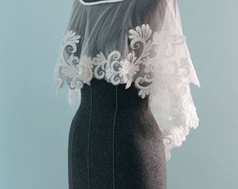 Chic Ivory white French lace and  Tulle Bridal Shaw, bridal Cape Accented with cotton lace