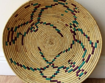 Moroccan Woven Plate  - Natural / Cerise / Green