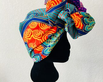 Head Wrap - African - Reversible - Kop Wrap - Lente Paradys (Spring Paradise)