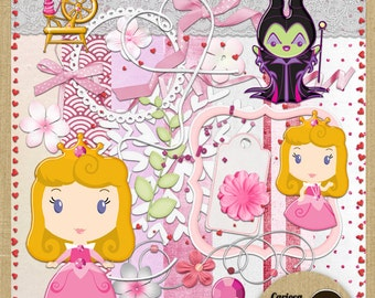 Cute Slleping Beauty Digital Scrapbooking Kit from Carioca Digital