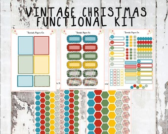 Vintage Christmas Functional Kit Planner Stickers, Christmas stickers, tartan, holiday kit, ECLP kit, functional kit, christmas kit