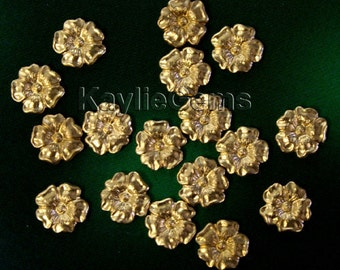 12 Raw Brass Small 8mm Stamping Thick FLAT back Cherry Blossom Premium Quality USA G5850RB