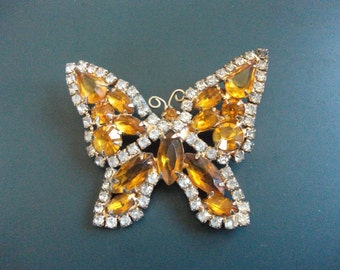 Vintage Amber & Clear Glass Rhinestone Butterfly Brooch Pin