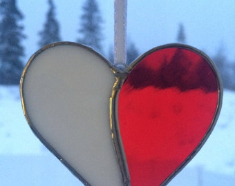 Stained Glass Heart, Red and White, Valentines Day Suncatcher