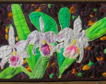 Wall Hanging Gorgeous Orchids Silk Quit