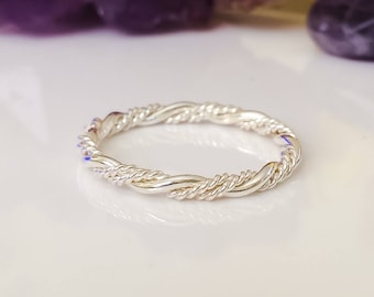 Sterling Siver RIng, Jewelry, Twist Ring, Rope Ring, Silver Stackable Ring, Stacking Ring, Stack Ring, Fancy Twist Ring, Braided Stack Ring