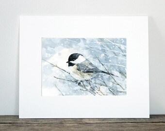 Chickadee in snow watercolor art print, bird painting, 5x7