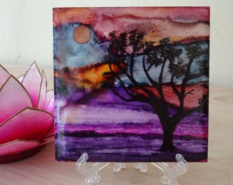 Alcohol ink landscape,alcohol ink painting, ceramic tile, Mother's day gift, one of a kind