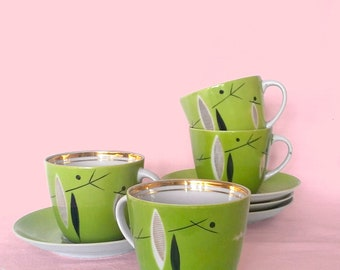 Olive coffee set, 4 cups and saucers