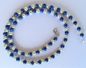 Striking Deep Blue Lapis & Bright Sterling Silver Beaded Necklace
