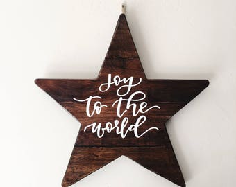 Joy to the World Wooden Star