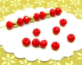 140 red donuts DO35 bright 4 * 3 mm faceted glass beads