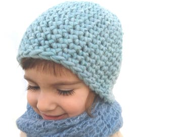 HAT ONLY! Aquamarine beanie Chunky cap Soft wool hat Eco friendly toque Casual wear Winter ski hat Handmade beanie Childrens gift under 25