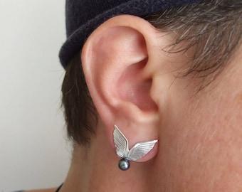 Silver Wings Stud Earrings with Pearl - wing earrings , pearl earrings ,  silver earrings , silver wing earrings , fantasy wedding
