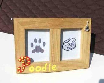 Final Markdown Sale...POODLE Dog Breed Wood Desktop Double Photo Frame w/Pawprint Charm
