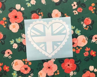 Love Hearts - Union Jack - Car decal, Laptop sticker, Anglophile